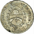 Argentina: , Argentina: Rio de la Plata. 1/2 Real 1815F-PTS, KM1.2, MS62 NGC, a completely original example with unusually bold details and attracti...