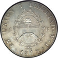 Argentina: , Argentina: Rio de la Plata. 8 Reales 1813J-PTS, KM5, AU55 NGC, achoice, problem-free coin with light gray toning and attractive,boldl...