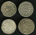 Argentina: , Argentina: Cordoba. Selection of Silver Reals, KM17, arms withoutshading and two rosettes, 1843-JPP, three examples grading crudeFine... (Total: 4 coins Item)
