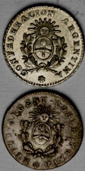 Argentina: , Argentina: La Rioja. 1/2 Real 1854-B, two varieties, KM22 withREPUB ARGENT CONFEDERADA, crude VF+, trace of luster, and KM24 withCONF... (Total: 2 coins Item)