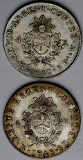 Argentina: , Argentina: La Rioja. Pair of 4 Reales, KM20, 1846-RV, nearly XF,lightly toned with a trace of original mint luster, and 1849-RB,AXF, ... (Total: 2 coins Item)