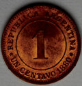 Argentina: , Argentina: Republic Pattern Centavo 1880-E, KM-Pn17, brilliant UNCwith prooflike surfaces, some minor contact marks but no spots.Seve...