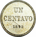 Argentina: , Argentina: Republic Copper-Nickel Pattern Centavo 1892, KM-P7 Piefort, Proof 64 NGC, an unusually choice example with the reverse type:...