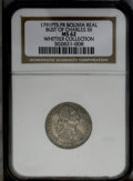 Bolivia: , Bolivia: Carlos IIII Real 1791-PR, KM70, MS62 NGC, very bold details and appealing old-time patina make this example unusually attrac...