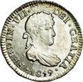 Bolivia: , Bolivia: Ferdinand VII 1/2 Real 1819-PJ, KM90, MS64 NGC, superbly struck and toned, a most attractive example....