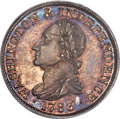 Colonials, 1783 1C Washington & Independence Cent, Draped Bust, No Button, Silver Restrike PR65 PCGS. Baker-3A, W-10380, R.6....