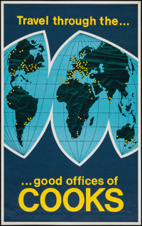 "Cooks Travel Poster (1954). Travel Poster (25"" X 39.75"") ""Travel Through the Good Offices of Cooks.""..."