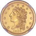 Classic Quarter Eagles, 1839-D $2 1/2 -- Improperly Cleaned -- NGC Details. AU. Winter 1-A, Variety 26, R.3....