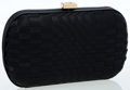 Luxury Accessories:Bags, Bottega Veneta Black Silk Woven Clutch with Crystal Closure. ...