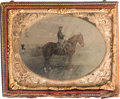 Photography:Tintypes, Scarce Outdoor Quarter Plate Tintype of a Mounted Enlisted FederalCavalryman....