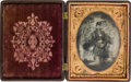 Photography:Tintypes, Great Quarter Plate Identified Tintype of Sidney Chamberlin, 39th Wisconsin Vol. Infantry. ...