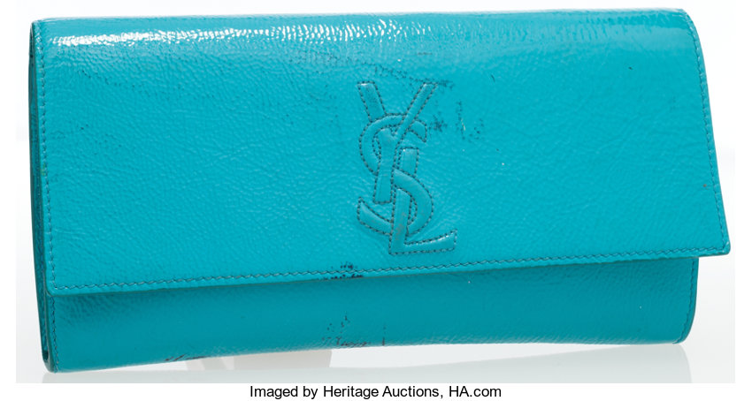 4290781ed10 Luxury Accessories:Bags, Yves Saint Laurent Turquoise Patent Leather Belle  du Jour ClutchBag.