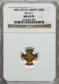 California Fractional Gold: , 1856 50C Liberty Octagonal 50 Cents, BG-311, Low R.4, MS63Prooflike NGC. NGC Census: (4/0). ...