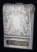 Silver Smalls:Match Safes, AN AMERICAN SILVER AND SILVER GILT MATCH BOX HOLDER, Carter, Howe& Co., New York, New York, circa 1900. Marks: PAT. JAN....