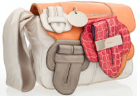 Chloe Beige & Salmon Leather Saskia Wristlet