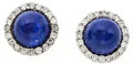 Estate Jewelry:Earrings, Lapis Lazuli, Diamond, White Gold Earrings. ...