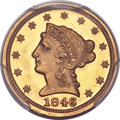 Liberty Quarter Eagles, 1846-D $2 1/2 -- Repaired -- PCGS Genuine. Unc. Details. Variety 7-L (formerly 7-K)....