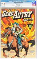 Golden Age (1938-1955):Western, Gene Autry Comics #4 (Fawcett Publications, 1943) CGC FN/VF 7.0Off-white pages....
