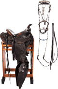 Western Expansion:Cowboy, Edward Bohlin Saddle with Silver Conchos and Matching SilverBridle/Breast Collar....