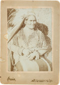 American Indian Art:Photographs, Geronimo at Fort Sill: A Classic Cabinet Photograph by Irwin,Chickasha, Indian Territory. ...