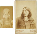 American Indian Art:Photographs, Jack Red Cloud Cabinet Card by Trager with Chief Joseph Carte de Visite. ... (Total: 2 Items)