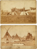 American Indian Art:Photographs, Sioux Encampment: Two 1880s Vintage D. F. Barry CabinetPhotographs.... (Total: 2 Items)