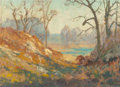 Paintings, MAURICE BRAUN (American, 1877-1941). Lake at Mount Kisco, New York, 1924. Oil on canvasboard. 10 x 14 inches (25.4 x 35....