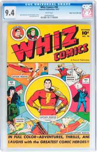 Whiz Comics #90 Mile High pedigree (Fawcett Publications, 1947) CGC NM 9.4 White pages