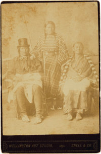 Cheyenne Cabinet Card: Young Whirlwind, Wife, and Daughter with Henry Heth Signature and Inscription on Verso