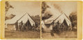 Photography:Stereo Cards, Stereoview of Union Officers in Front of General McClellan's Tent Following the Battle of Antietam, October 3, 1862....