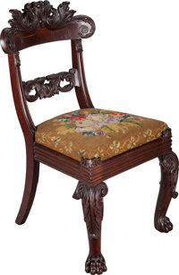 AN AMERICAN MAHOGANY NEEDLEPOINT UPHOLSTERED CHAIR, circa 1835 37-1/2 x 20-1/2 x 22 inches (95.3 x 52.1 x 55.9 cm)
