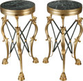 Furniture : French, A PAIR OF NEOCLASSICAL-STYLE GILT BRONZE AND MARBLE INSET TABLES,20th century. 24 x 13 x 13 inches (61.0 x 33.0 x 33.0 cm)...(Total: 2 Items)