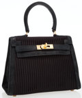 Luxury Accessories:Bags, Hermes 20cm Black Pleated Satin & Veau Doblis Suede Mini KellyBag with Gold Hardware. ...