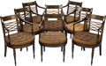 Furniture , A SET OF EIGHT REGENCY-STYLE PAINT DECORATED WOOD ARMCHAIRS, 19th century. 33 x 21 x 19 inches (83.8 x 53.3 x 48.3 cm). ... (Total: 8 Items)