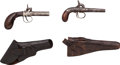 Handguns:Muzzle loading, Pair of Single Shot Percussion Boot Pistols with Holsters. ...(Total: 2 Items)