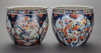 A PAIR OF JAPANESE IMARI PORCELAIN JARDINIÈRES, late Meiji period 12-1/4 inches high x 14-1/4 inches diameter (31...
