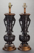 Asian:Japanese, A PAIR OF JAPANESE PATINATED BRONZE VASES MOUNTED AS LAMPS, MeijiPeriod. 27-1/2 inches high (69.9 cm) (overall). ... (Total: 2Items)