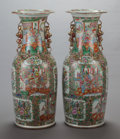 Asian:Chinese, A PAIR OF CHINESE ROSE MEDALLION PORCELAIN FLOOR VASES, 19thcentury. 35-1/2 x 14 inches (90.2 x 35.6 cm). ... (Total: 2 Items)