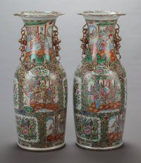A PAIR OF CHINESE ROSE MEDALLION PORCELAIN FLOOR VASES, 19th century 35-1/2 x 14 inches (90.2 x 35.6 cm)