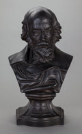 Ceramics & Porcelain, British:Antique  (Pre 1900), AN ENGLISH BASALT BUST OF LORD TENNYSON, Wedgwood, Burslem (Stoke-on-Trent), Staffordshire, England, late 19th century. Mark...