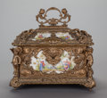 Decorative Arts, French:Other , A LOUIS XV-STYLE GILT BRONZE AND PAINTED PORCELAIN TABLE CASKET,circa 1900. 14-1/2 x 14 x 10-1/2 inches (36.8 x 35.6 x 26.7...