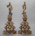 Decorative Arts, French:Other , A PAIR OF FRENCH RENAISSANCE-STYLE GILT BRONZE FIGURAL ANDIRONS,Bouhon Frères, Paris, France, late 19th century. Marks: B...(Total: 2 Items)