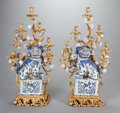 Asian:Chinese, A PAIR OF CHINESE PORCELAIN AND GILT BRONZE SEVEN-LIGHT CANDELABRUMIN LOUIS XV TASTE, early 20th century. 41 x 24 x 12 inch... (Total:2 Items)