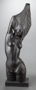 Other, A BLACK MARBLE FIGURE OF A WOMAN, 20th century. 46-1/2 x 17 x 9inches (118.1 x 43.2 x 22.9 cm). ...