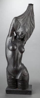 A BLACK MARBLE FIGURE OF A WOMAN, 20th century 46-1/2 x 17 x 9 inches (118.1 x 43.2 x 22.9 cm)
