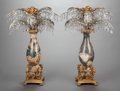 Decorative Arts, French:Other , A PAIR OF ONYX, CUT GLASS, GILT AND SILVERED BRONZE MOUNTED URNS, 20th century. 30 x 22 x 22 inches (76.2 x 55.9 x 55.9 cm)... (Total: 2 Items)