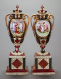 Ceramics & Porcelain, Continental:Antique  (Pre 1900), A PAIR OF GERMAN PORCELAIN COVERED URNS ON PEDESTALS, circa 1900.Marks: (shield). 22 inches tall (55.9 cm). ... (Total: 2 Items)