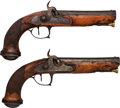 Handguns:Muzzle loading, Pair of Unmarked Percussion Pistols.... (Total: 2 Items)
