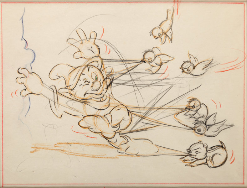 Snow White and the Seven Dwarfs Dopey Layout Drawing (Walt