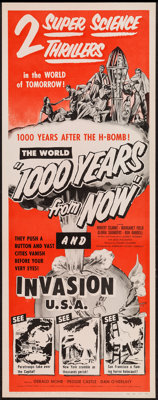"1000 Years from Now/Invasion USA Combo (American Picture Company, R-1956). Insert (14"" X 36""). Science Fiction..."